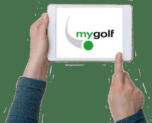 Tablet mit mygolf Logo